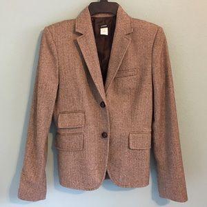 J. Crew Wool Houndstooth Jacket Blazer Brown 4